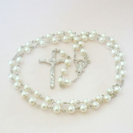 Rosary Beads for A Girl or Boy, White Pearls